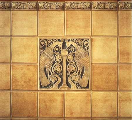 Integrated arts craftsman fireplace design for Arts and crafts floor tile